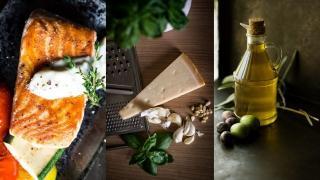 Salmone, grana e olio extravergine di oliva