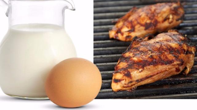 Latte, un uovo e pollo alla griglia