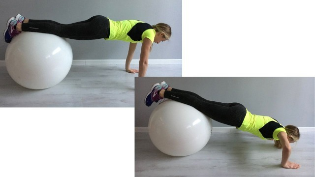 Sabrina Galimberti esegue un Push Up su Fitball