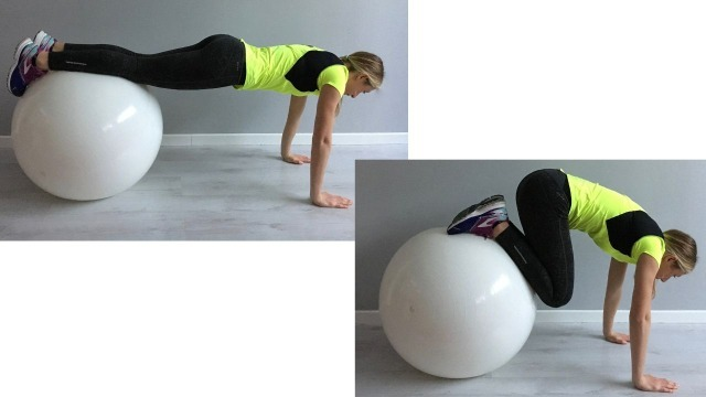 Sabrina Galimberti esegue un Leg Pull-In su Fitball